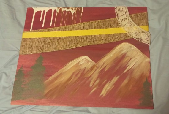 """""""The Mountian is Always Dreamier on the Other Side,"""" Acrylic Paint on Canvas, Date Unknown"""