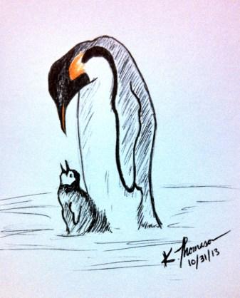 Penguins, Ink on Paper, 31 October 2013
