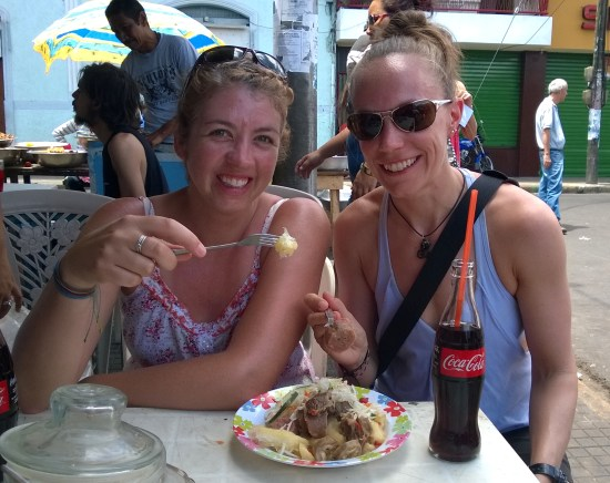 Trying street food in Leon, Nicaragua.