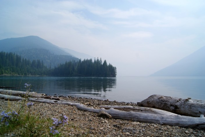 Smoky haze along the Columbia River, just north of Revelstoke.