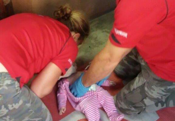Rescue breaths on Baby Annie