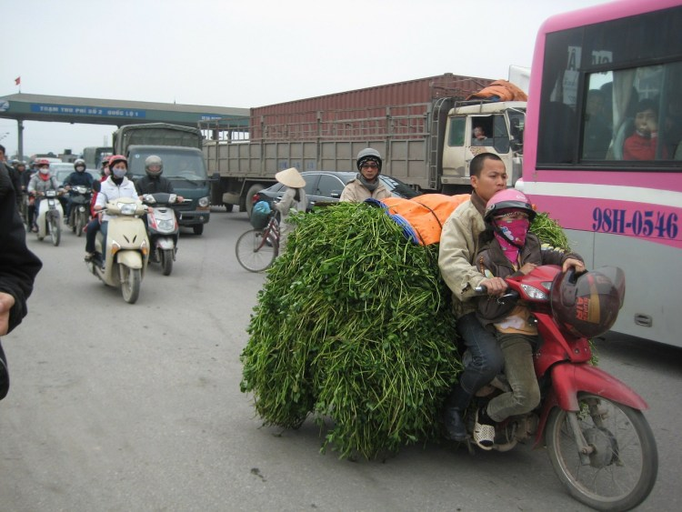Motorcycle Touring in Vietnam - Loaded motorcycle