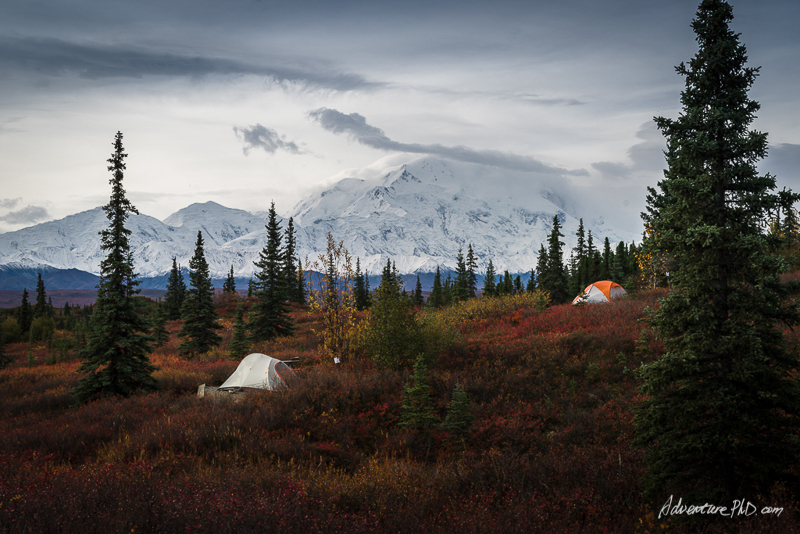 Wonder Lake campground with a view of Mount. Denali