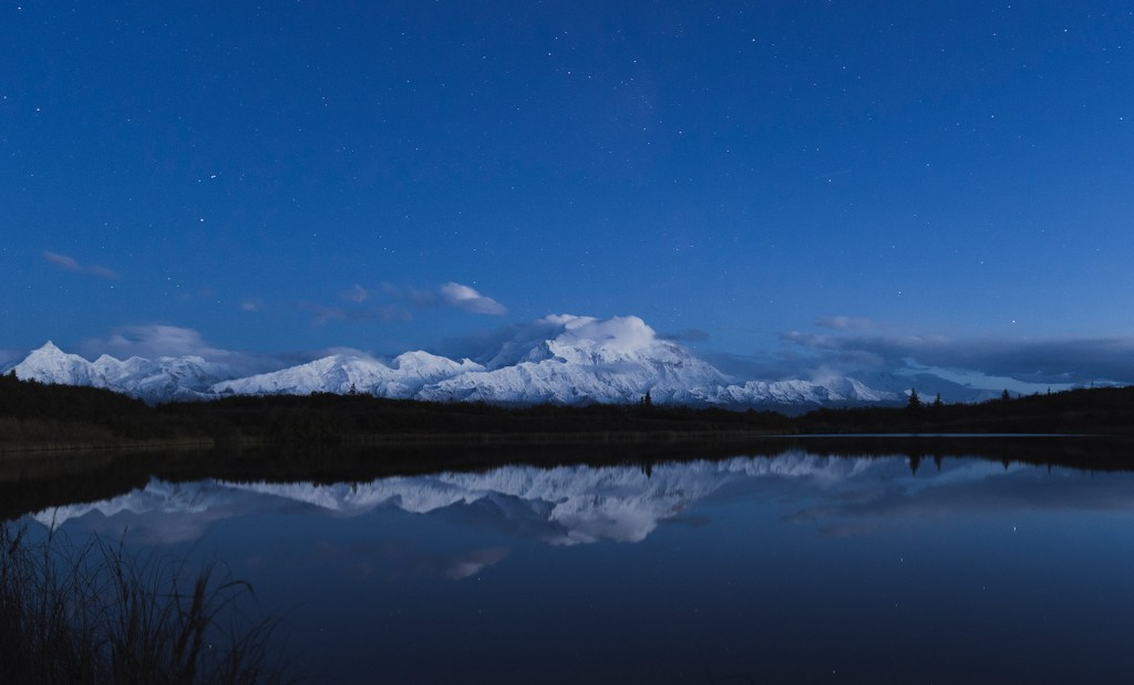Mount. Denali (McKinley) at night, viewed from the Reflection Pond