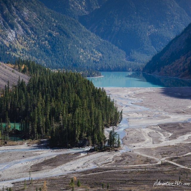 Kinney Lake and dried river bed, Berg Lake Trail