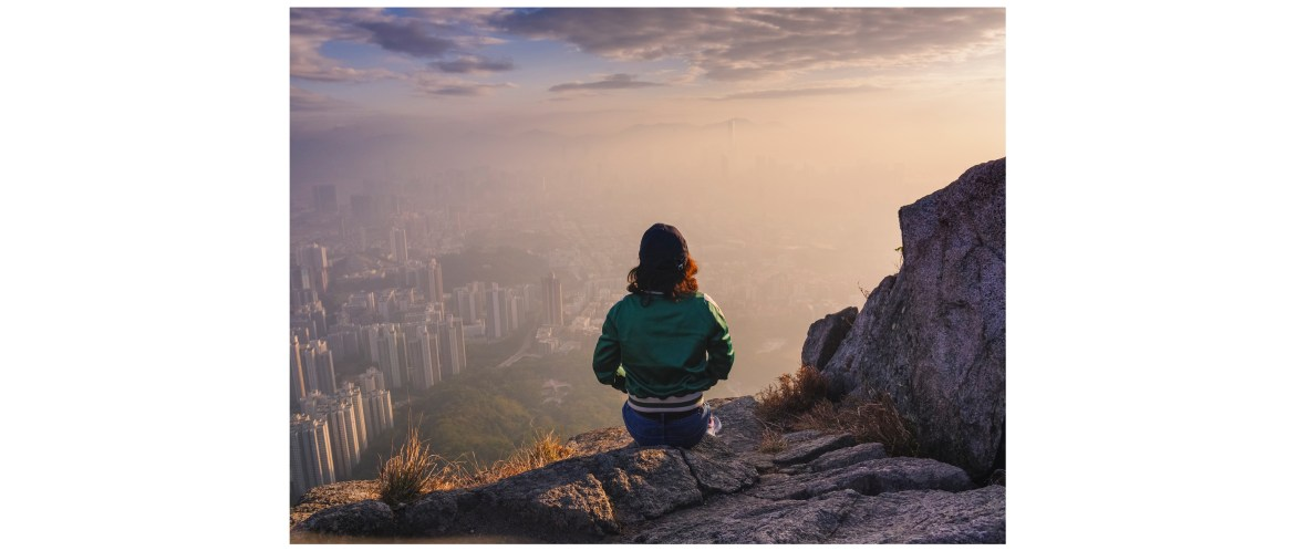 Viewing the Hong Kong city from the Lion Rock Mountain Peak