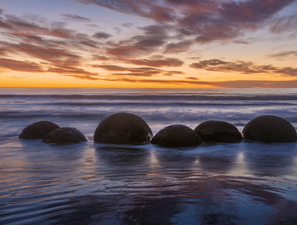 Moeraki Boulders in sunrise