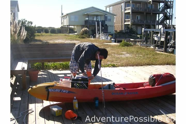 Getting ready to kayak