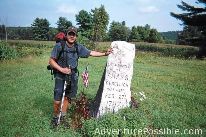 The Author at the historical marker for Shays Rebellion (2006)
