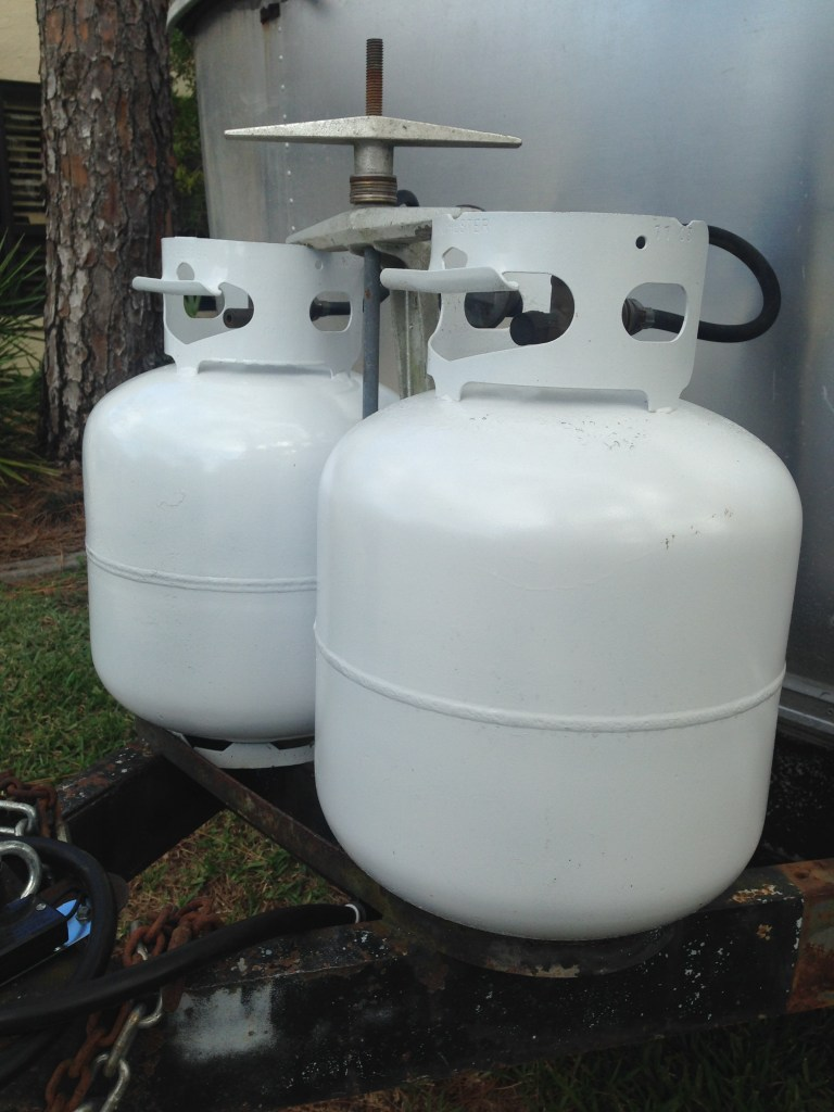 propane gas system on Airstream RV travel trailer