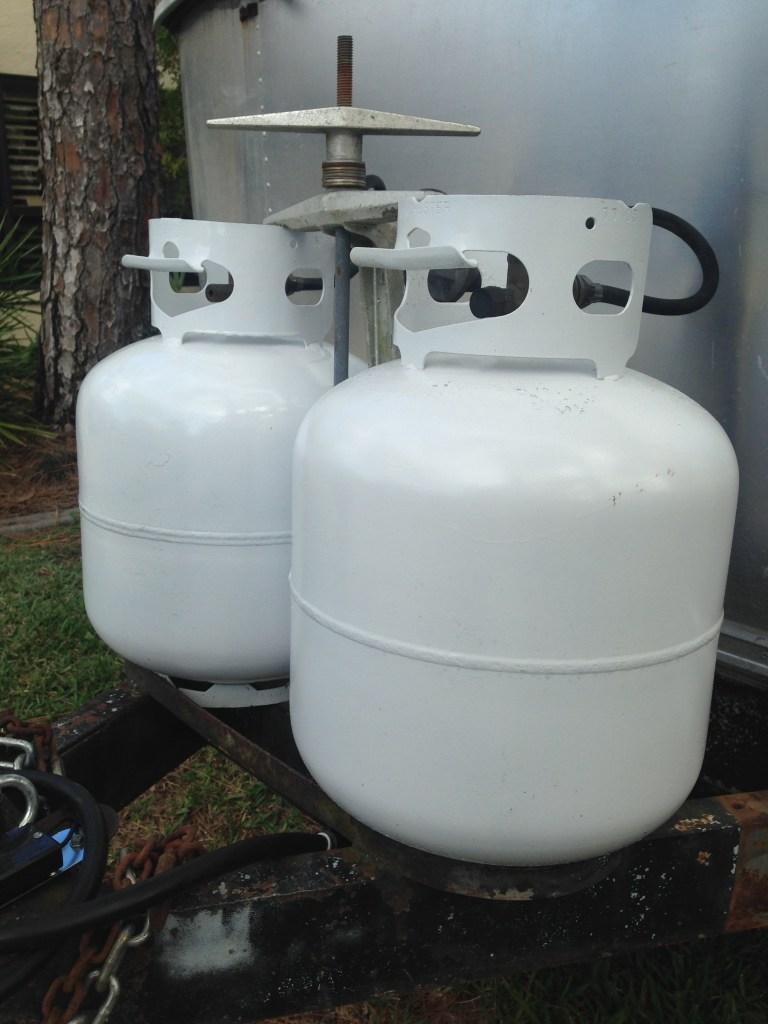 propane gas system on Airstream RV travel trailer