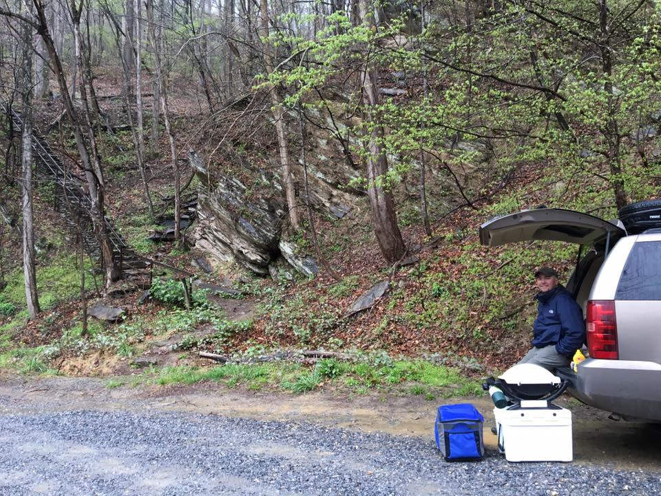 Setup for trail magic on the Appalachian Trail at Waterville Road in Smoky Mountain National Park.
