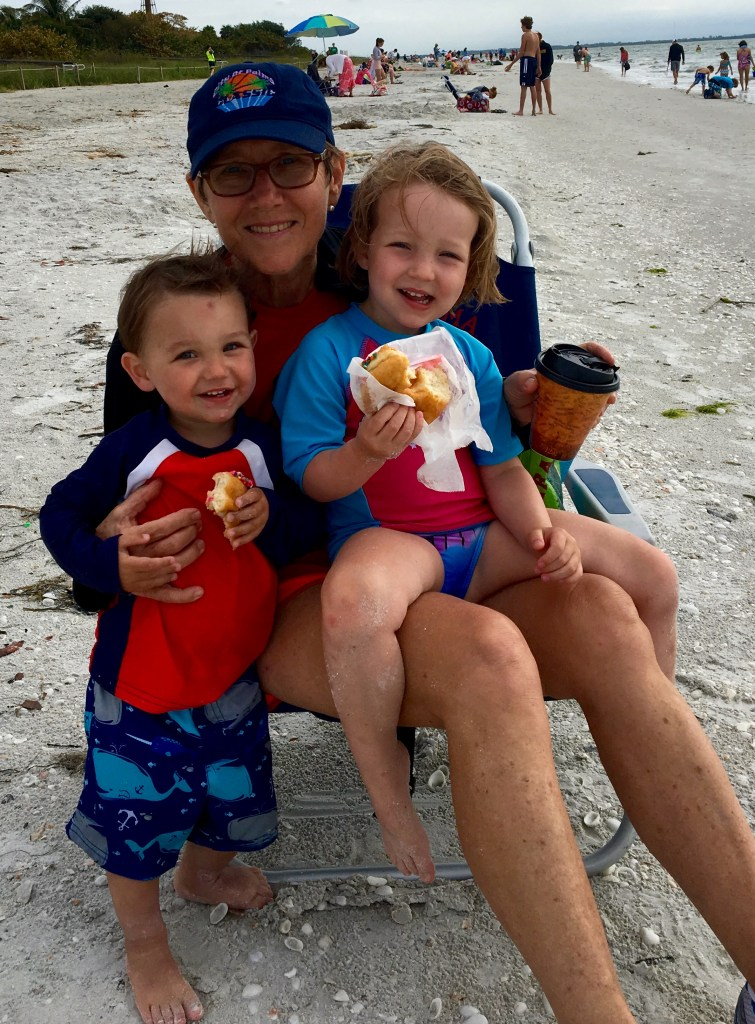 Enjoying Bennett's doughnuts on Sanibel Island with Grammy.