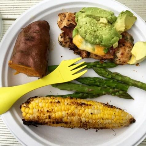 Corn, Chicken with Avocado, Asparagus, Sweet Potato