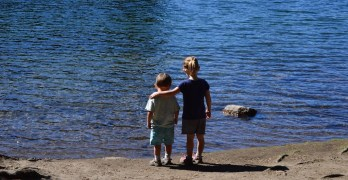 Hike around Manzanita Lake at Lassen Volcanic National Park, California