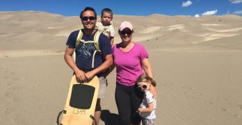 Sledding at Great Sand Dunes National Park, Colorado