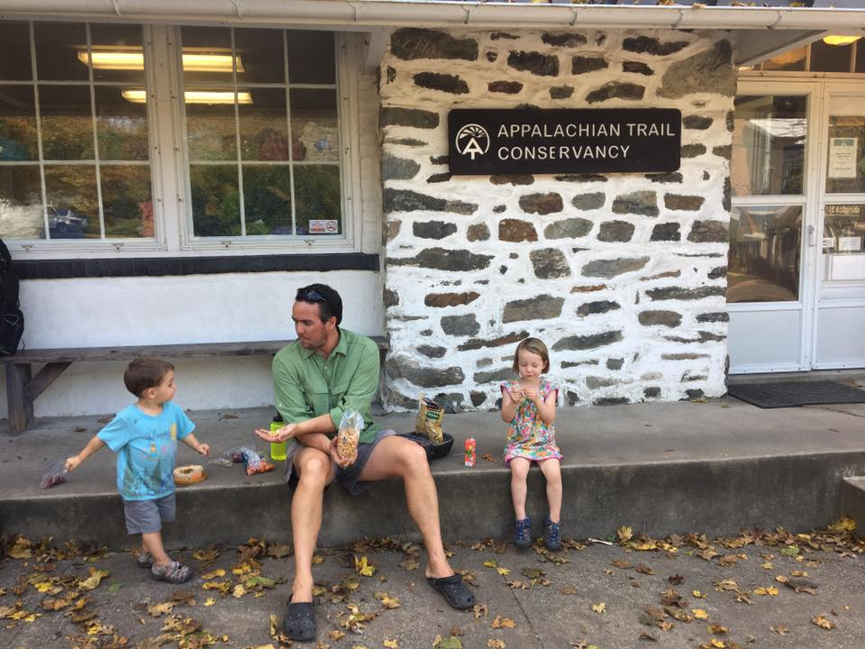 Snacking with Jane and Wilson at ATC in Harpers Ferry.