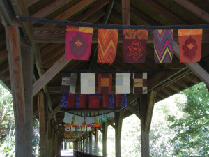 Art flags installed on the campus of Florida Tech, Melbourne, FL. AdventureQuilter.com/blog