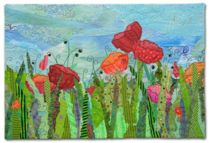 Garden Party, an art quilt by Ellen Lindner. AdventureQuilter.com