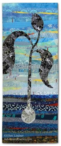 Dancing Toward the Sun, an art quilt by Ellen Lindner. AdventureQuilter.com