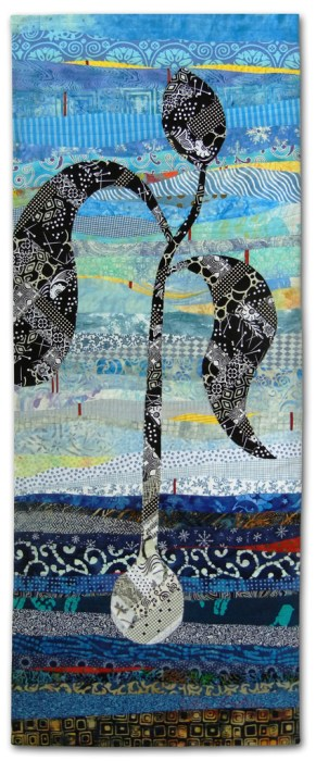 Dancing Toward the Sun - detail, an art quilt by Ellen Lindner. AdventureQuilter.com