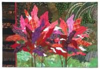 Ti Plants A-Glow-Glow, an art quilt by Ellen Lindner. AdventureQuilter.com