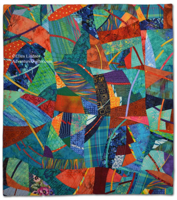 In the Moment, an art quilt by Ellen Lindner. AdventureQuilter.com
