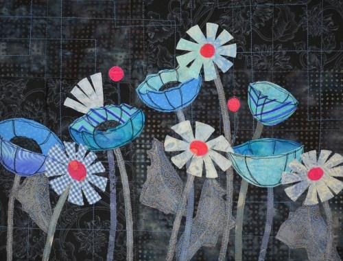"""Class sample for Ellen Lindner's """"Floral Improv."""" AdventureQuilter.com"""