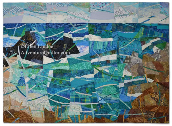 Coastal Overlook, an art quilt by Ellen Lindner. AdventureQuilter.com/blog
