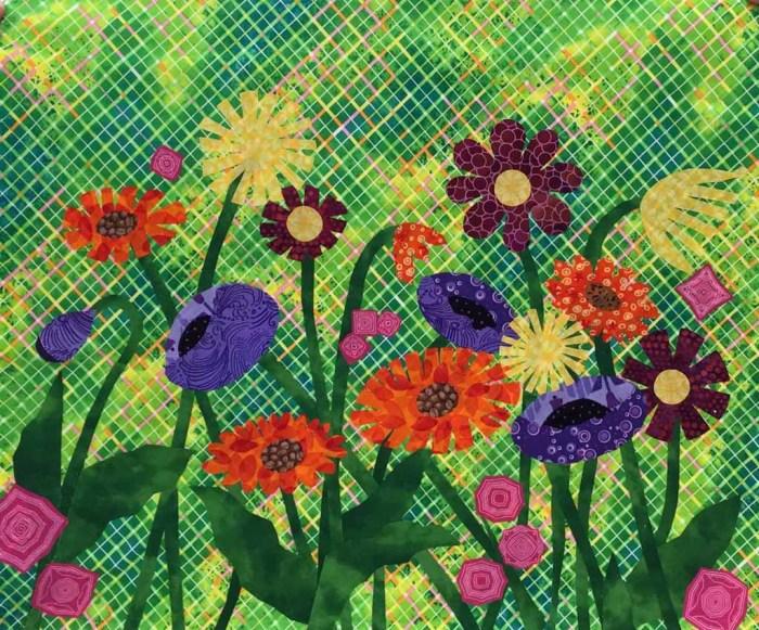 Ellen Lindner's Floral Improv class. AdventureQuilter.com
