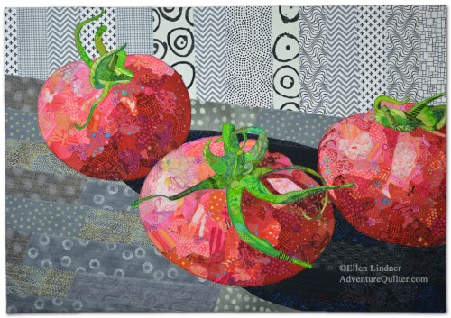 Vine Ripened, an art quilt by Ellen Lindner. AdventureQuilter.com/blog