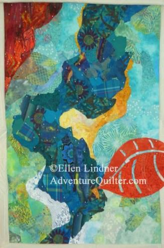 An abstract art quilt under way, by Ellen Lindner, AdventureQuilter.com/blog