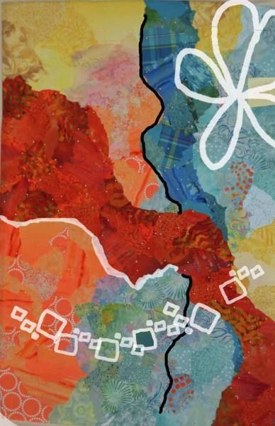 An abstract art quilt in-progress. Ellen Lindner, AdventureQuilter.com/blog