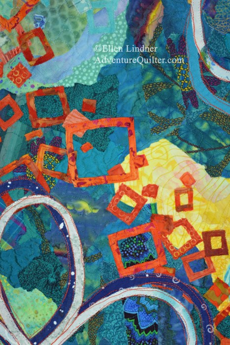 Daydream - detail, an art quilt by Ellen Lindner. AdventureQuilter.com