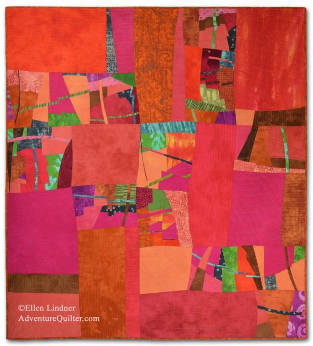 Is it Hot in Here, or is It Just Me? An improvisational art quilt by Ellen Lindner. AdventureQuilter.com