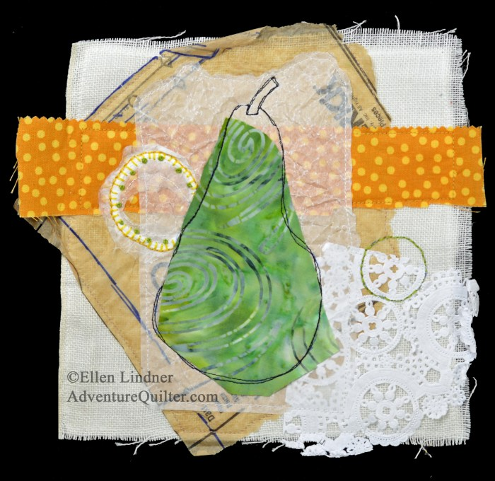 Pear Study #2, a small art quilt by Ellen Lindner. AdventureQuilter.com