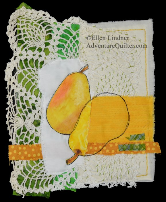 Pear Study #1, a small art quilt by Ellen Lindner. AdventureQuilter.com/