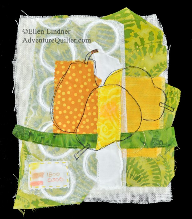 Pear Study #4, an art quilt by Ellen Lindner. AdventureQuilter.com