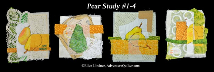 Pear Study #1-4, by Ellen Lindner. AdventureQuilter.com