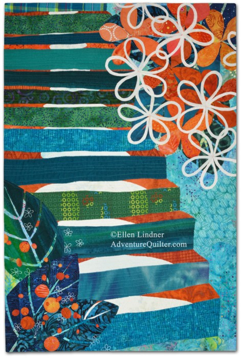 Fragrant Climb, an art quilt by Ellen Lindner. AdventureQuilter.com