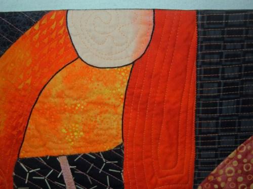 Working on my Flame Vine Quilt. Ellen Lindner, AdventureQuilter.com/blog