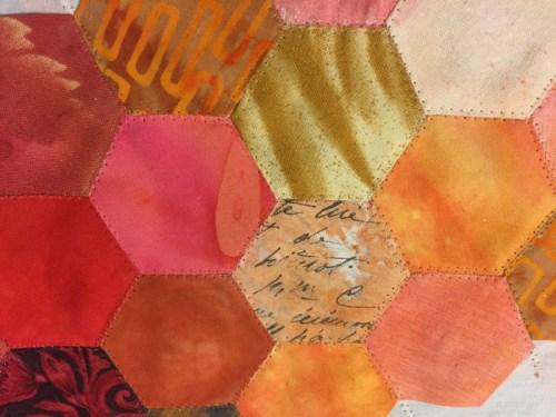 Hand Stitching Hexies. Ellen Lindner, AdventureQuilter.com/blog