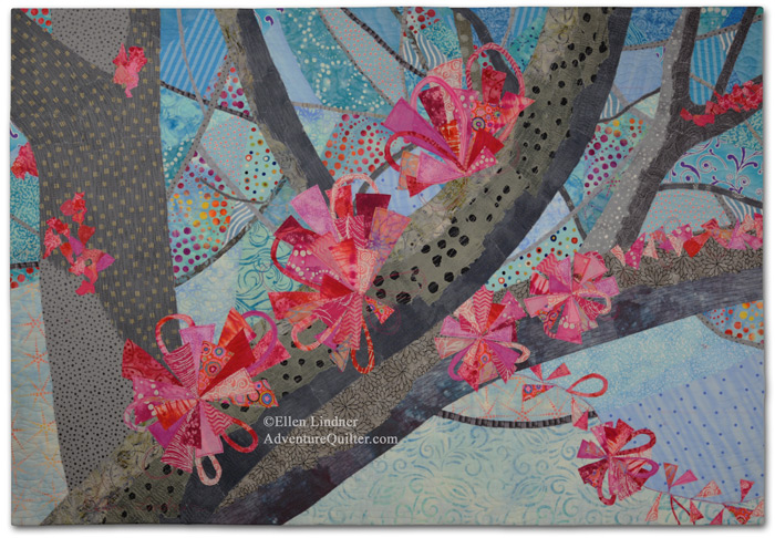 Spring Forth, an art quilt by Ellen Lindner. AdventureQuilter.com/blog