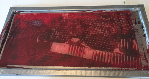 Deconstructed Screen Printing: random design. Ellen Lindner, AdventureQuilter.com/blog