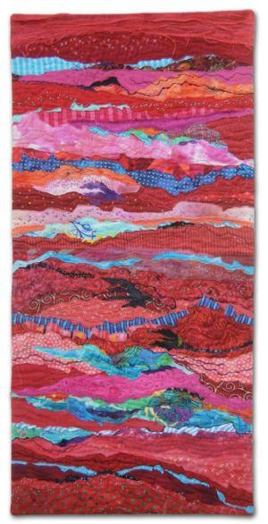 Red Strata, an art quilt by Ellen Lindner. AdventureQuilter.com