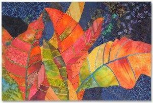 Crotons, an art quilt by Ellen Lindner. AdventureQuilter.com
