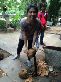 Super cute Singapore girl trying to shuck the coconut