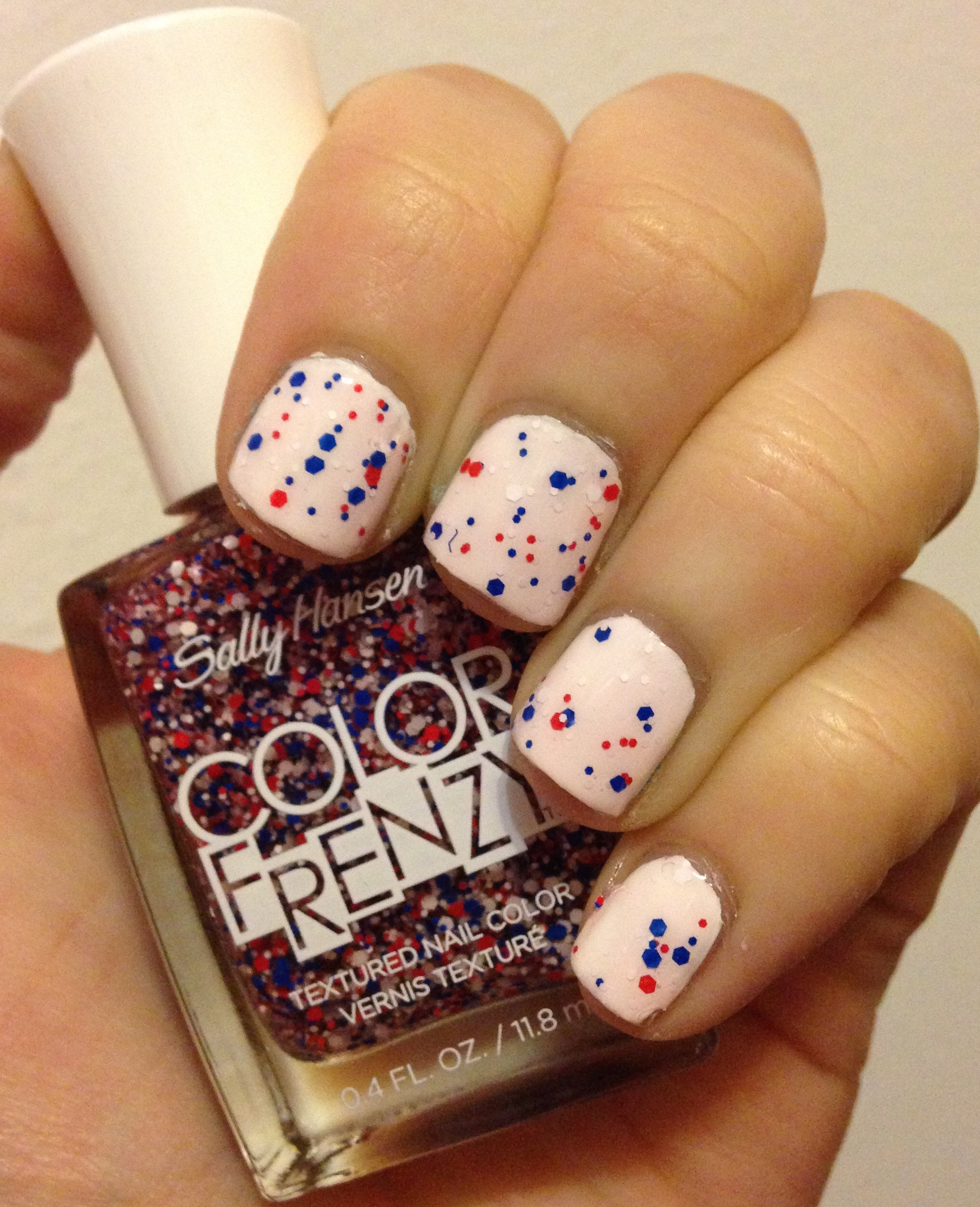 July 4th Nails with Sally Hansen Color Frenzy in Red, White & Hue ...