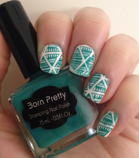Teal Aztec Nail Art featuring Born Pretty Store Stamping Products