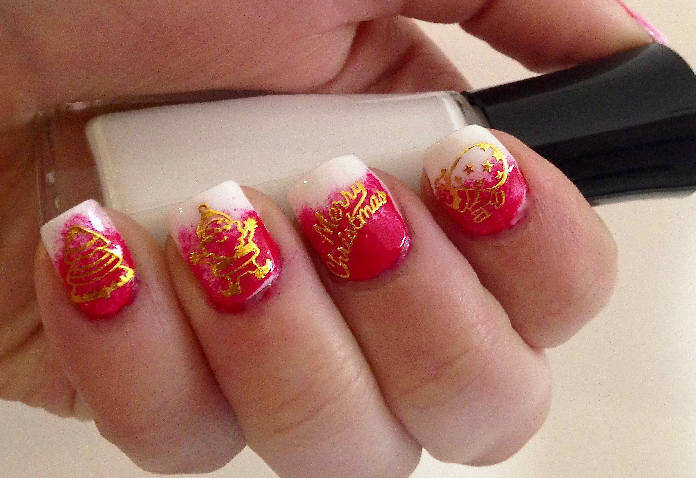 Santa Claus Manicure featuring Gold Nail Stickers from Born Pretty ...
